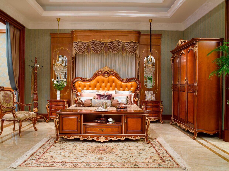 万兴欧式家具宫系列床+床头柜+衣柜+挂衣架+地柜
