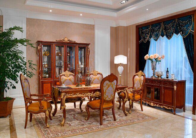万兴欧式家具宫系列6601四门酒柜+餐桌餐椅+餐边柜+吧台
