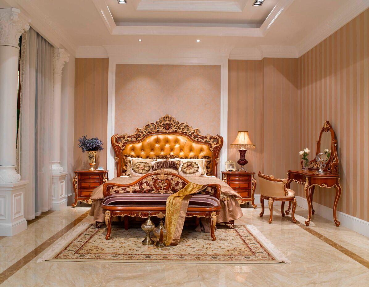 万兴欧式家具宫系列6602床+妆台妆镜+6601床头柜