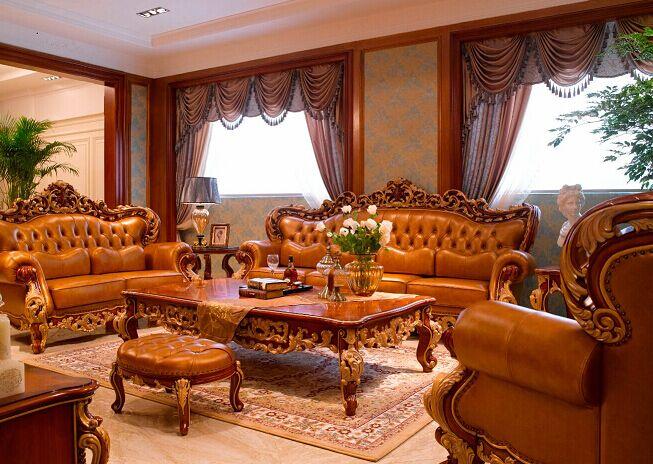 万兴欧式家具宫系列6602沙发1+2+3+茶几+脚凳+背几